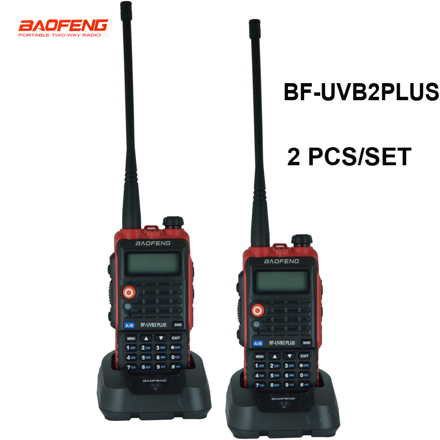 2PC Original Baofeng UV B2 Plus Walkie Talkie Dual Band VHF UHF 128CH Two way Radio