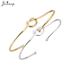 Jisensp Bijoux 2019 Cute Tie Knot Bangles Open Metal Charm Heart Bangle & Bracelet for Women Girl Adjustable Bracelets Wholesale(China)