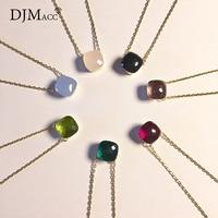 DJMACC Caramelo de Calidad Superior de 16 Colores de Cristal de Colores Negro Rosa Azul Verde Rojo Gota de Agua Colgante de Collar Para Las Mujeres (DJ1090)