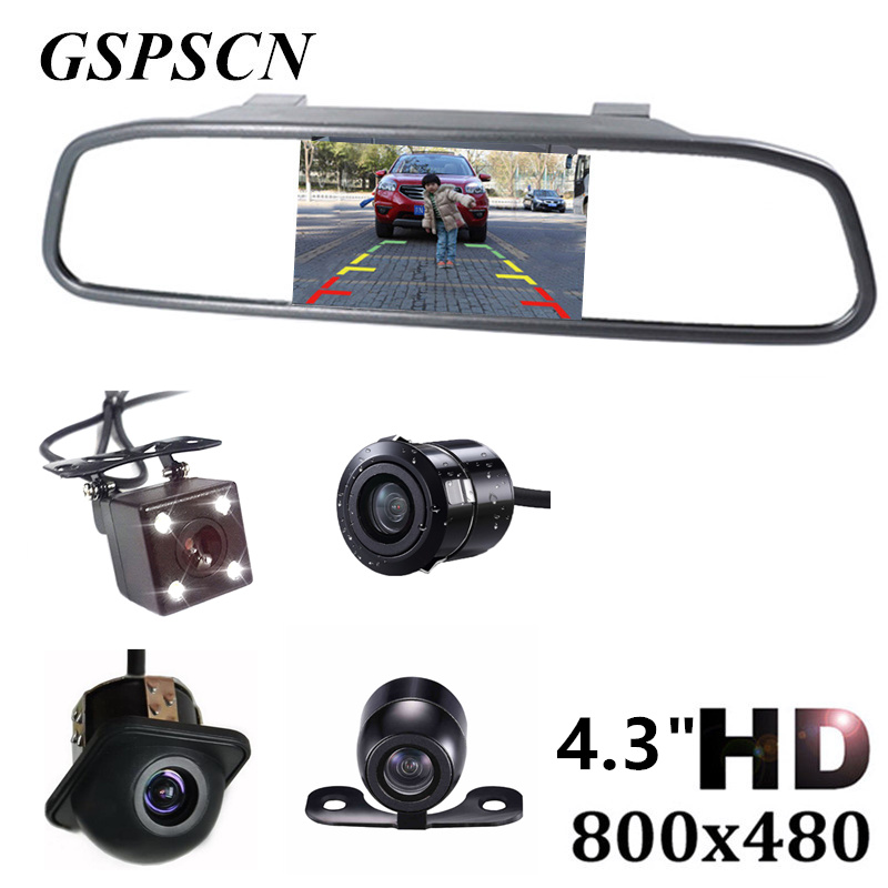 Universal 4.3 inch Car HD Rearview Mirror Monitor CCD Video Auto Parking Assistance with 4 LED Night Vision Reversing Camera car hd video auto parking monitor led night vision reversing ccd car rear view camera with 4 3 inch car rearview mirror monitor