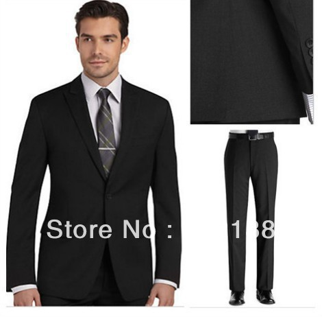 Aliexpress.com : Buy Free shipping fresh black wool suit custom