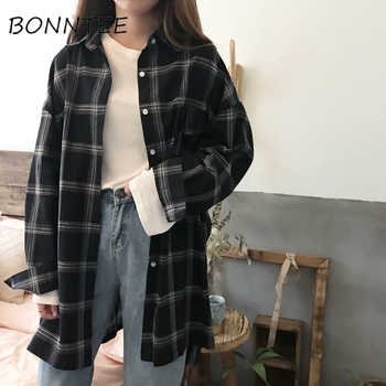Women New Shirts Casual Plaid All-match Loose Long Sleeve Students Daily BF Ulzzang Single Breasted Womens Korean Style Harajuku - DISCOUNT ITEM  5% OFF All Category
