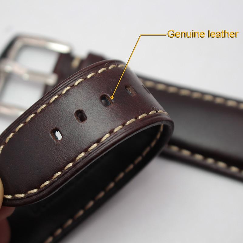 Smooth Genuine Leather Watchbands Black Dark Brown Bracelet 18 19 20 21 22 24mm Watch Band Strap Stainless Steel Silver Buckle