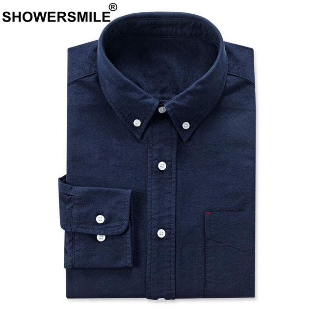 Showersmile Long Sleeve Navy Oxford Shirt Men With Pockets Autumn
