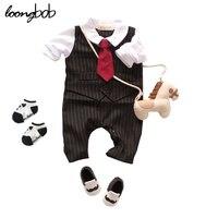 2014 New Baby Boys Romper Newborn Gentleman Bow Tie Suits Spring Autumn Bebe Jumpsuit Costume Infant