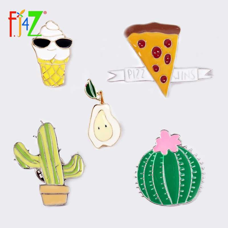 2017 Hot Brooches Fashion Enamel Cake Cactus Ice Cream Pear Women's Costume Accessories Pins Studs for cloth bags hats