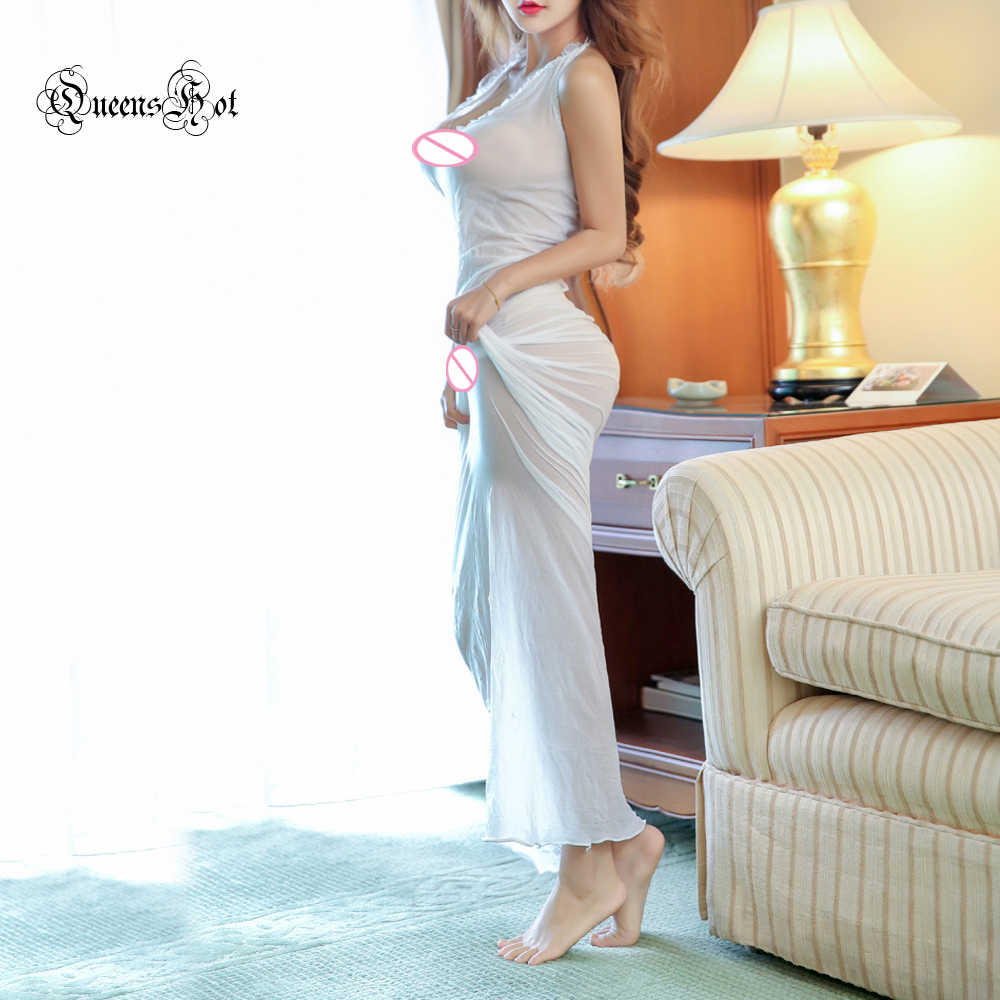 לצלול סקסית ארוטית חמה V צוואר התחרה הלטר חשוף גב לקיר ארוך מקסי נשים שמלת חלוק הלבשה תחתונה הלבשת Babydoll את בגד הגוף