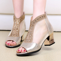 Bling Women Sandals 2018 Summer Fashion High Heel Sandals Crystal Casual Ladies Shoes 6cm High Heels
