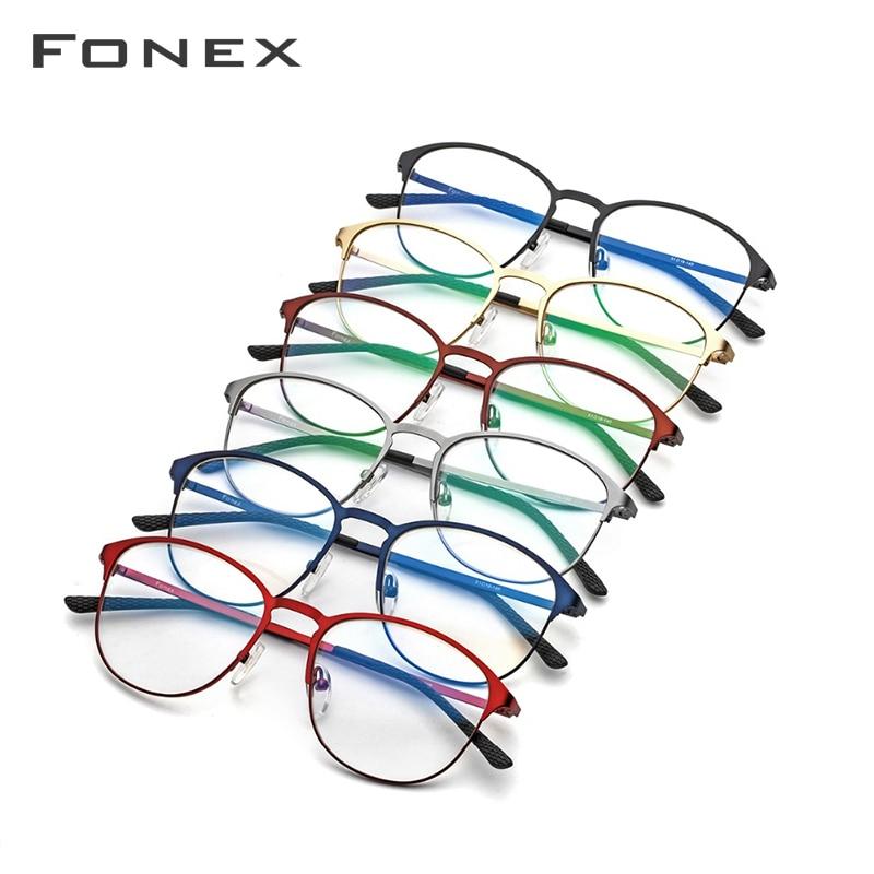 Lunettes de Prescription en alliage de titane femmes marque Designer Vintage lunettes rondes cadre rouge pleine myopie montures optiques lunettes - 5