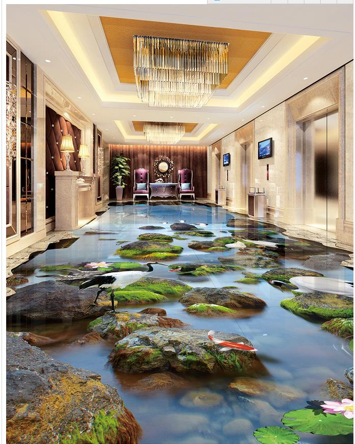 3d flooring Sea Landscape Stone Crane Lotus 3D Floor 3d ...