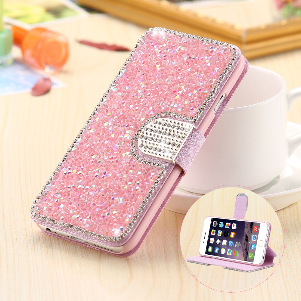 TANZ Bling Diamond Case For iPhone 5 X Fashion Rhinestone Glitter Wallet Flip Leather For iPhone 7 8 6S Plus Mobile Phone Cover