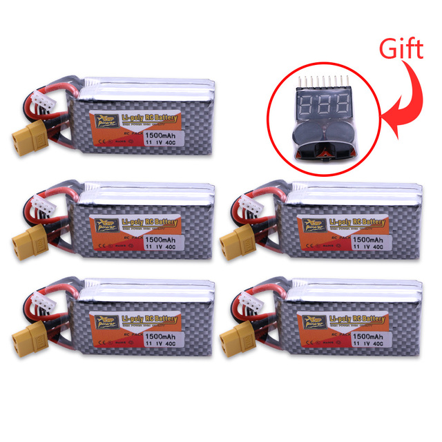 5pcs Battery Lipo Battery with gift 11.1V 1500Mah 3S 40C Max 60C XT60 Plug For Rc quadcopter drone helicopter car airplane