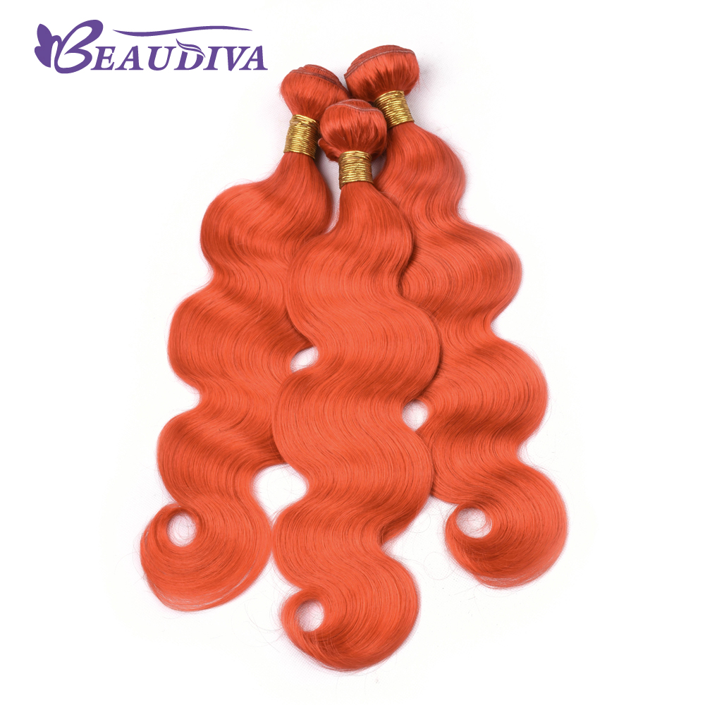 BEAU DIVA Brazilian Orange Red Body Wave Hair Weave Bundles Four Piece 100% Human Hair Extensions 4 Hair Bundles Remy Hair