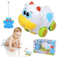 New Baby Boys Girl Cartoon Cow Remote Control Electric Toys Car kids RC Car Cartoon Musical Light Child RC Car