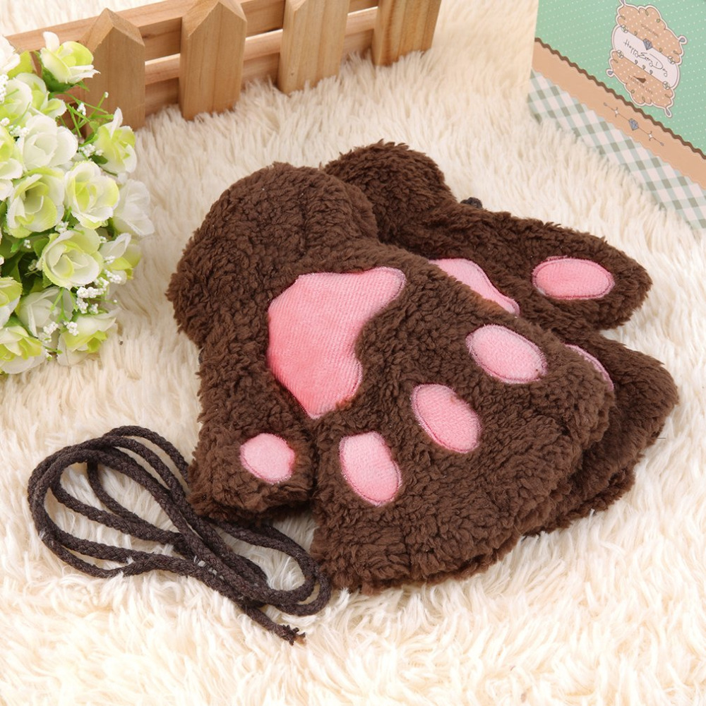 Winter Girls Warmth Fingerless Plush Gloves Fluffy Cute Bear Claw Cat Animal Paw Soft Warm Lovely Half Finger Covered Gloves