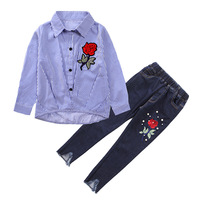 2017 Autum Toddler Girl Clothing Sets Kids Girls Clothes Cartoon Long Sleeveless Shirt Jeans 2PCS Suit