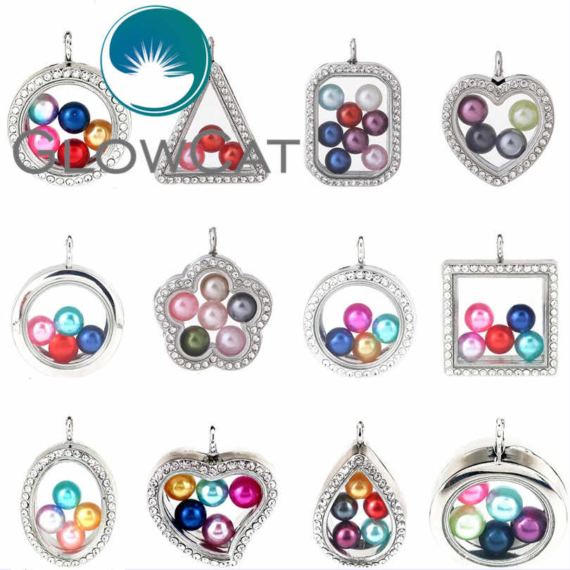 16 Styles Magnetic Living Memory 8mm Beads Locket Pearl Cage Floating Glass Locket With Rhinestone Pendant