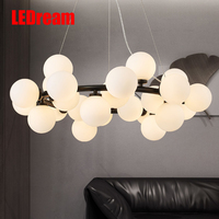 Contemporary and contracted creative molecular fashion clothing store character sitting room glass ball magic beans droplight