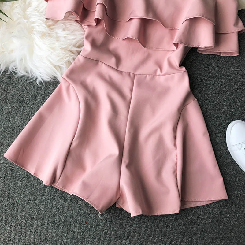 HTB10qavcfWG3KVjSZFPq6xaiXXat - Candy Color Elegant Jumpsuit Women Summer Latest Style Double Ruffles Slash Neck Rompers Womens Jumpsuit Short Playsuit
