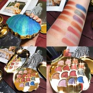 Image 2 - Mermaid Eyeshadow Palette 14 สี Shimmer Matte Glitter อายแชโดว์ Pallete METALLIC PigmentedCosmetic MakeupPalette หนัง