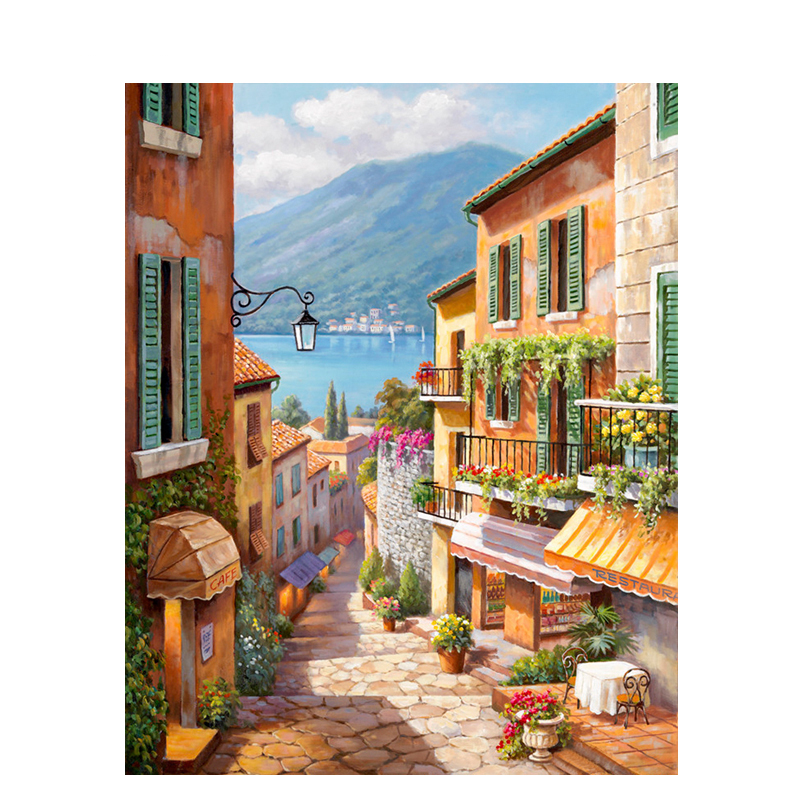 DIY Digital Painting By Numbers Package Italian street view owl oil painting mural Kits Coloring Wall Art Picture Gift frameless