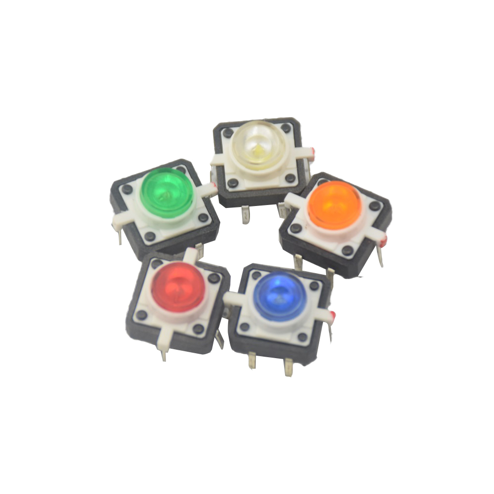 Integrated Circuits Electronic Components & Supplies 5pcs White Led Tactile Button Push Switch Momentary Tact With Led Round Cap