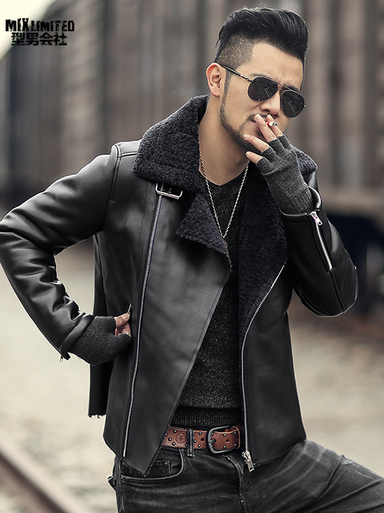 Men slim woolen black fur collar motorcycle bikers faux leather jacket coat metrosexual man warm casual new design jacket F7159