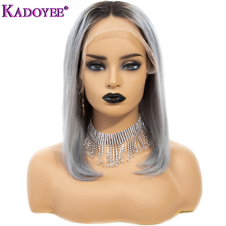 1B Grey Ombre Short Straight Lace Front Human Hair Wigs Brazilian Remy Hair 13 4 Bob