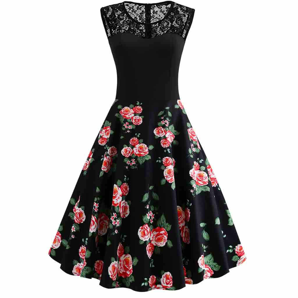 Fashion Women vintage dresses 50s 60s dresses woman party night plus size Floral Print O-Neck Lace Sleeveless Swing Dress#G8