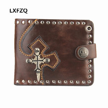 genuine leather men wallet Rivets Cross skull Purses Punk style Men's purse