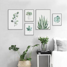 green plant wall art poster canvas painting watercolor botanical print art wall pictures use Nordic Bedroom decoration DH2512 botanical print shirt
