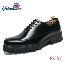YEINSHAARS Men Pointed Black Oxford Shoes Male Business Dress Footwear Height Increase For Thick Soled