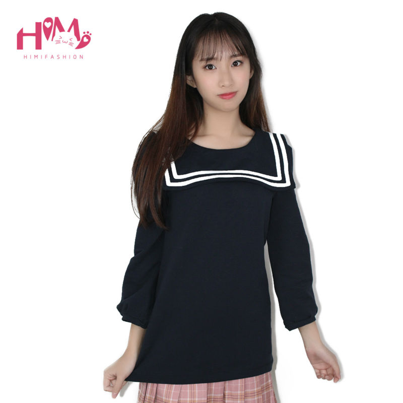 2019 New Navy Collar Women Half Sleeve Cotton Doll Shirt Sailor Moon Shirt For Girl College Style Cute Tops Navy White Plus Size Women's Clothing