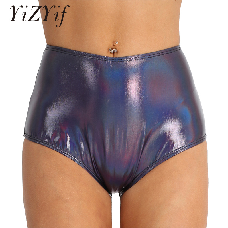 YiZYiF Women Shiny Metallic Booty Shorts Patent Leather Back Zipper High Waisted Brief Style Bottoms Dance Raves Shorts Women