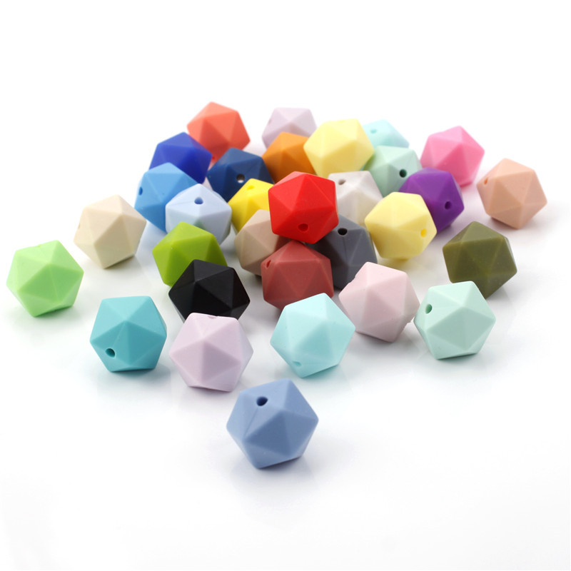 50pcs Icosahedron Teethers Silicone Beads Polyhedron Baby Teether Teething Necklace Bracelet Bpa Free Pacifier Chain DIY