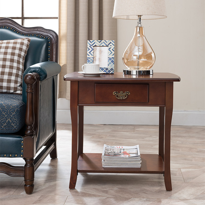 American solid wood side simple sofa cabinet table side cabinet mini corner  coffee table square table living room side table