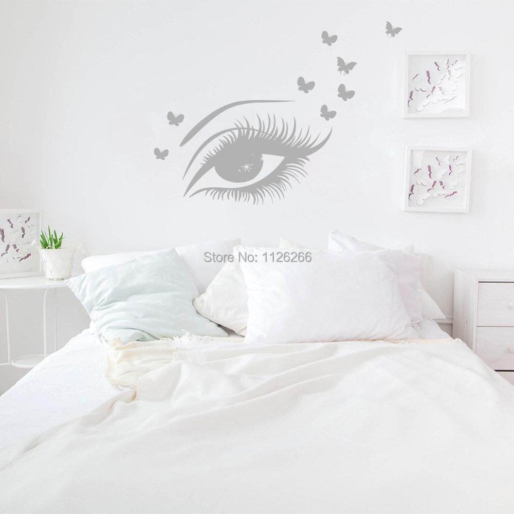 Красивые глаза и стикер на стену с бабочками, украшение для спальни, дивана, настенный Декор для дома, доступно несколько цветов