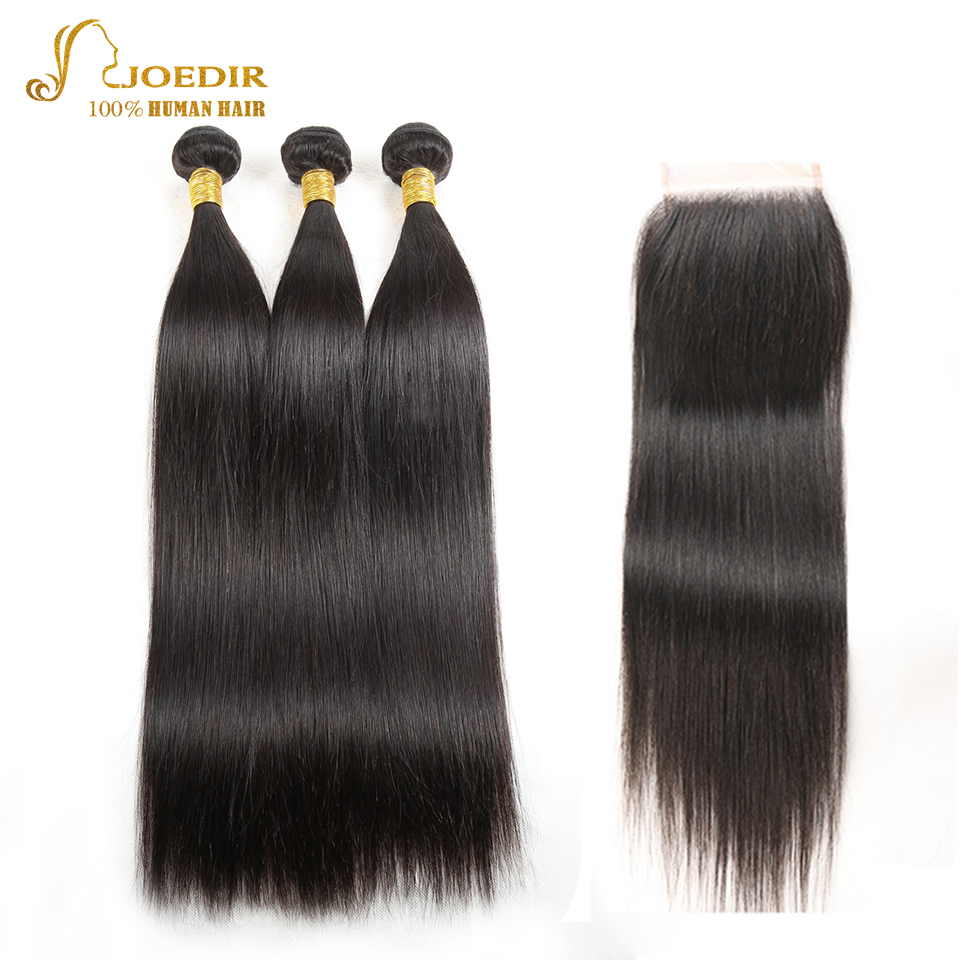 JOEDIR Hair Pre-colored Indian Straight Hair weave 3 Bundles With Closure 4*4 100% Human Hair Extension hair vendors ...