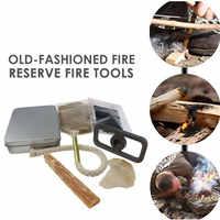 Flint Stone Primitive Fire Starter Tool Outdoor Survival Tools Kit 7pcs Silver Durable Hike