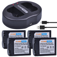 PowerTrust 4Pcs CGA S006 CGA S006E S006A S006 DMW BMA7 Battery + Dual USB Charger for Panasonic DMC FZ7 FZ8 FZ18 FZ28 FZ30 FZ35