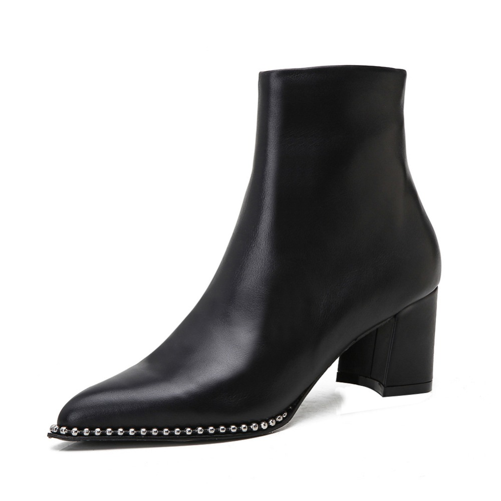 2017 New Women's Genuine Leather Med Heel Ankle Boots Pointed Toe Zip Up Stylish Chain Autumn Winter Ladies Short Booted 2017 autumn winter new womens leather ankle boots ladies black short boots round toe high block heel zip up booties size