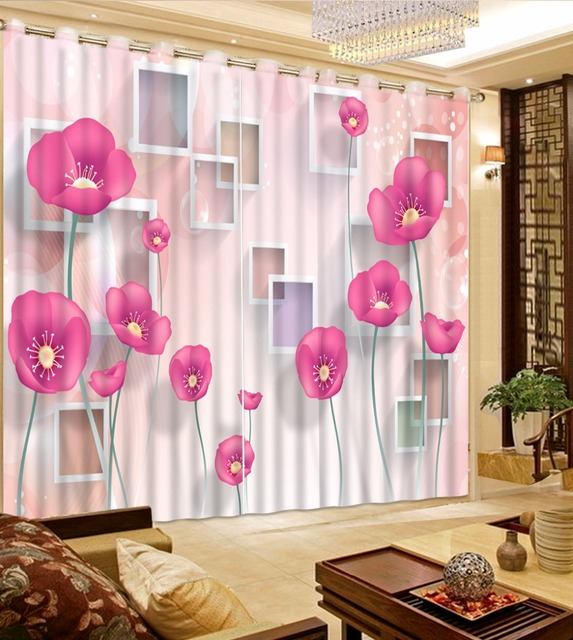 Pink Flower Curtains Girls Bedroom Curtains 3D Photo Curtains For ...