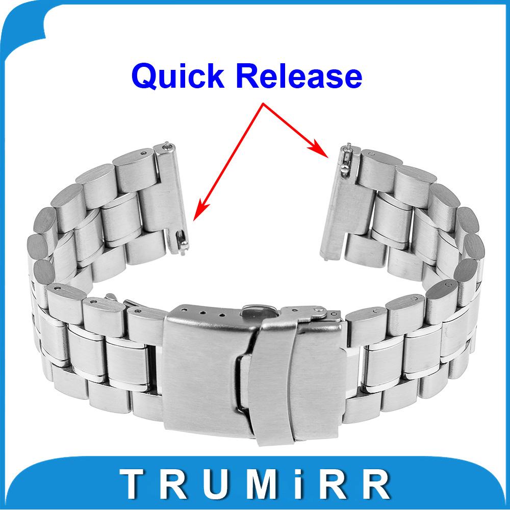 Prix pour 22mm Libération Rapide Bande de Montre Bracelet Sangle pour Pebble Temps/Acier Asus Zenwatch 1 2 22mm LG G Watch W100 R W110 Urbain W150