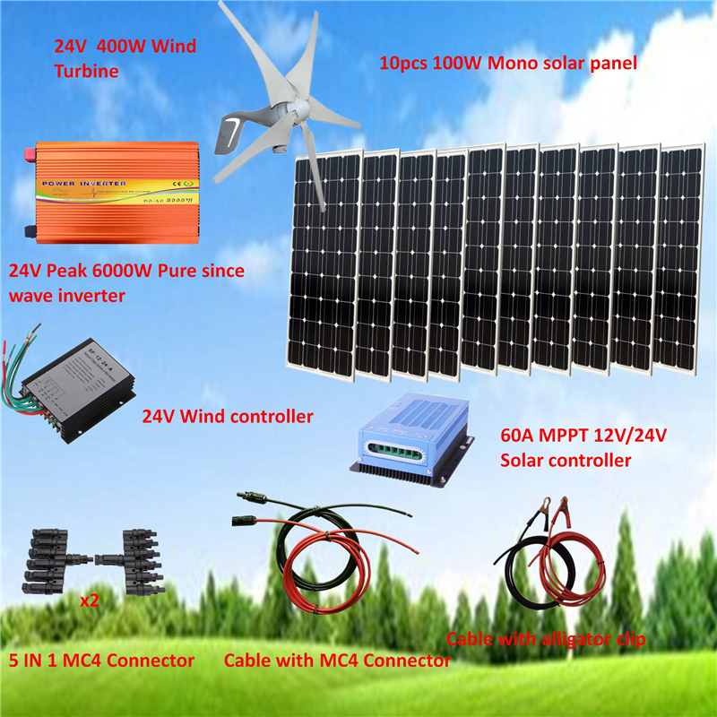 1400W Hybrid System Kit: 400W Wind Turbine Generator & 10*100W Mono solar panel+ Peak 6000W Pure Since Wave Inverter+Accessories image