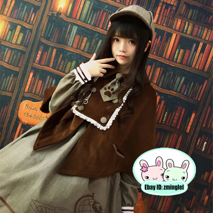 Vintage British Detective Cat Women Neko Paw Print Tie Double Breasted Brown Cape Cloak Cute Preppy Style Lolita Outwear Winter