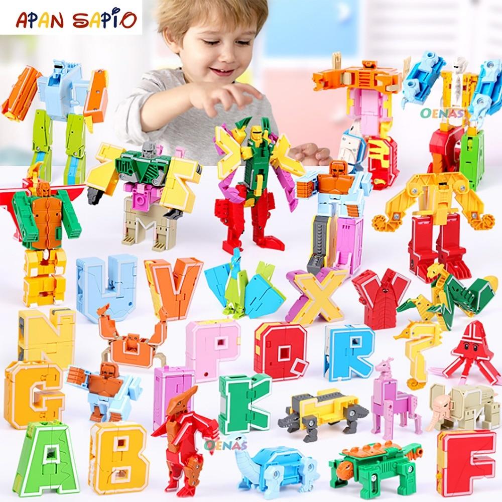 26PCS Transformation Robot Assembling Building Blocks English Word Educational Action Figure Deformation Robot Toys For Children