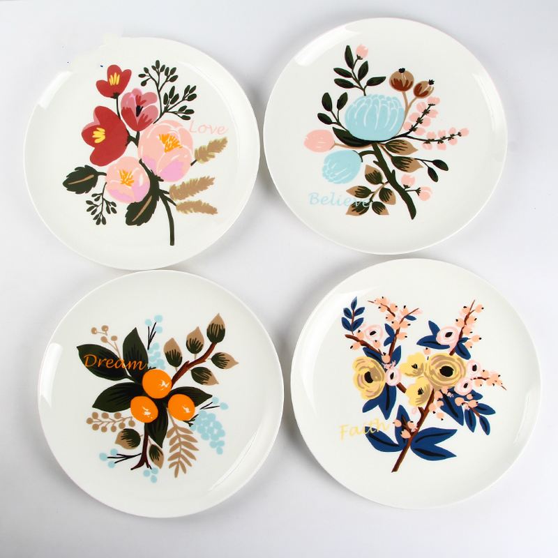 8 Inches Flower Porcelain Hanging Plate Household Dish