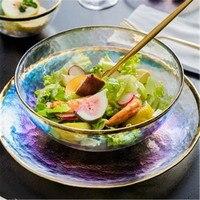 KINGLANG Nordic ins Phnom Penh hammer glass bowl household tableware Western steak dish salad bowl