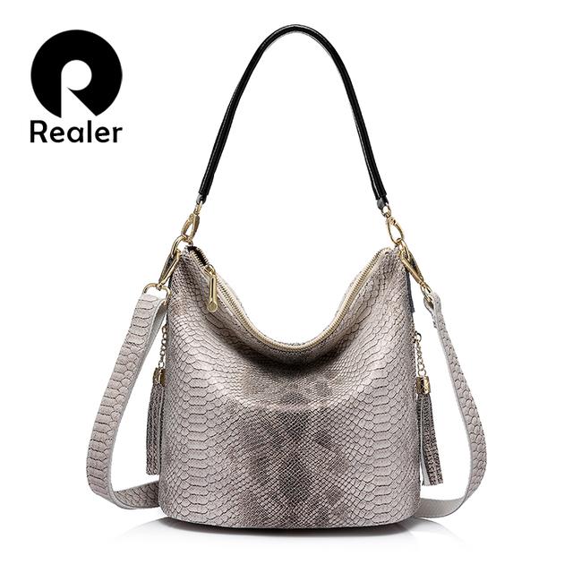 REALER brand new design women genuine leather handbags serpentine pattern shoulder bag female casual crossbody bags with tassel