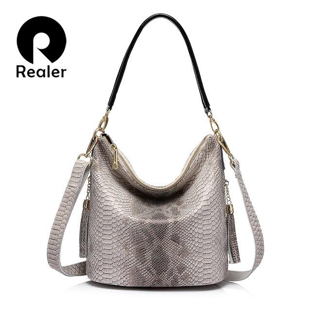 REALER бренд повседневная женская сумка из натуральной кожи со змеиным принтом и кисточкой, новый дизайн